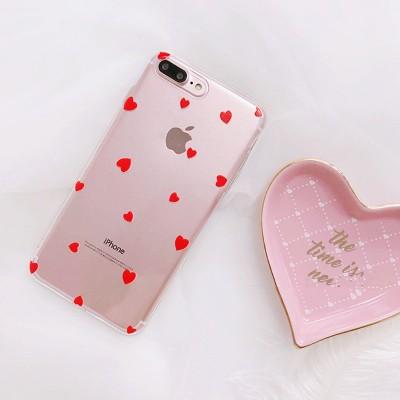 CarcasaTRANSPARENTA  inimioare si buline pentru iPHONE 6 Plus, 7, 8 Plus