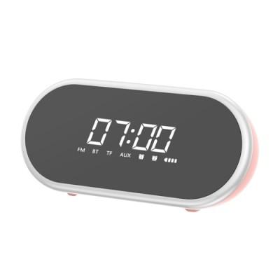 Boxa portabila, Baseus, cu ceas si Bluetooth, bas puternic, roz