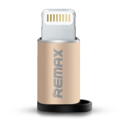 Adaptor Remax, la micro USB mama pentru iPhone, gold