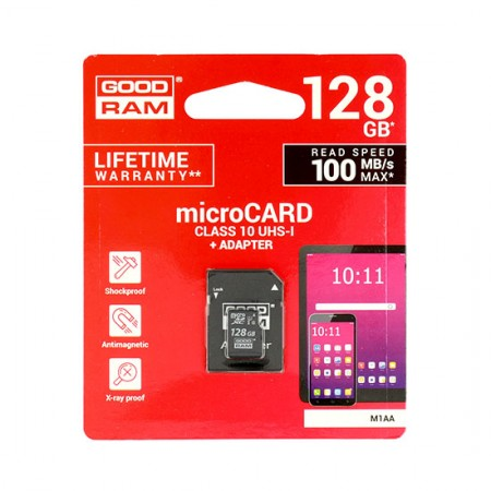 Card memorie micro sd GOODRAM - 128GB cu Adaptor UHS I CLASS 10 100MB/s