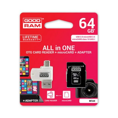 GOODRAM All in one - 64GB micro sd  card memorie cu  UHS I CLASS 10 100MB/s adaptor + reader