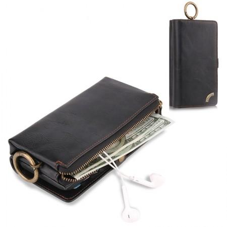 Husa PORTOFEL multifunctionala, din piele naturala, pentru SAMSUNG Note 5 (negru) si SAMSUNG  S6 Edge(maron)