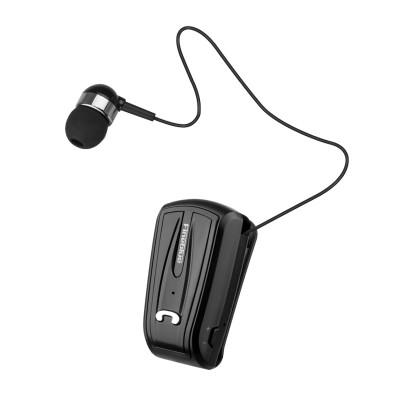 Casca Bluetooth, FineBlue, retractabila, prindere guler/buzunar, negru