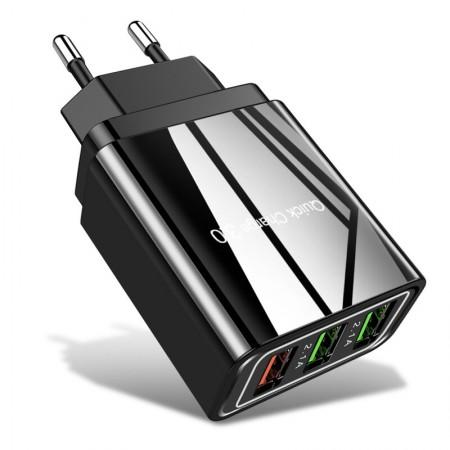 Incarcator Priza Qualcomm Fast 3xUSB 5.1A Quick Charge USB 3.0, Negru