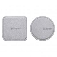 Placute magnetice Ringke, acoperite cu piele ecologica, silver