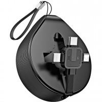 Baseus Cablu Waterdrop 3 in 1 MicroUSB, Lightning si Type-C Black (1.5m, retractabil), negru