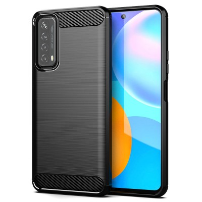Techsuit - Carbon Silicone - Huawei P Smart 2021, negru